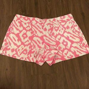 LOFT NWOT Linen Blend Pink & White Shorts 2